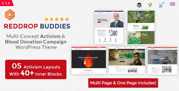 Reddrop Buddies – Multi-Concept Activism & Blood Donation Campaign WordPress Theme