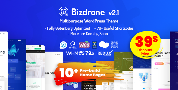 Bizdrone | ICO Crypto Landing & Cryptocurrency WordPress Theme with whmcs Template