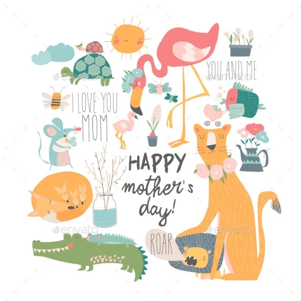 Cartoon Animals Mothers with Their Cubs