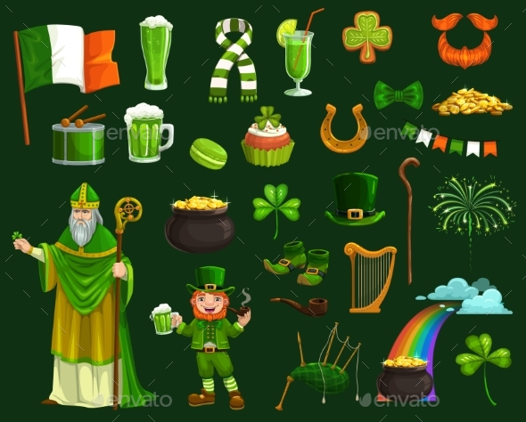 Saint Patrick Irish Shamrock Leprechaun and Gold