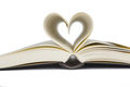 Open book with heart shaped pages. Love for reading. Isolated - PhotoDune Item for Sale