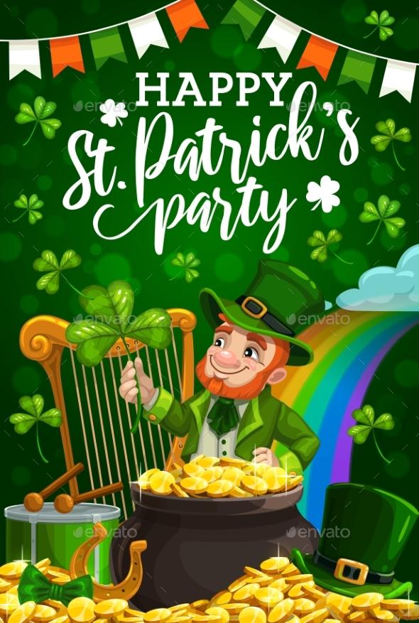 Leprechaun St Patricks Shamrock and Pot of Gold