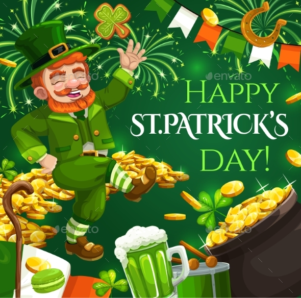 Patricks Day Leprechaun and Gold Coins with Fireworks