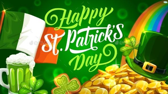 Patricks Day Rainbow Beer and Irish Flag