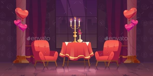 Romantic Dinner in Restaurant in Valentines Day