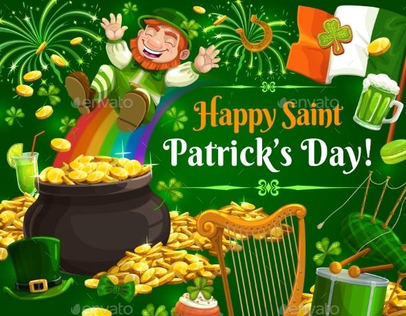 Leprechaun Pot of Gold and Rainbow Patricks Day