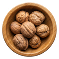 Unpeeled walnuts in a round wooden bowl - PhotoDune Item for Sale