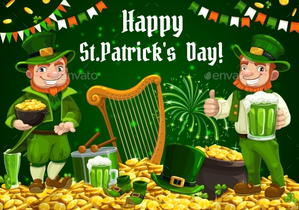 Patricks Day Irish Leprechaun with Beer and Gold