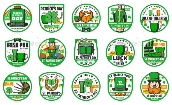Patricks Day Holiday Badges and Symbols