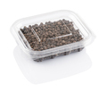 black pepper seeds in transparent plastic container isolated on white background, with clipping path - PhotoDune Item for Sale