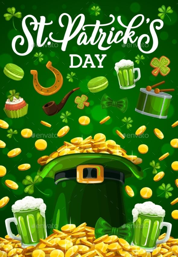St Patricks Day Leprechaun Gold Coins in Green Hat