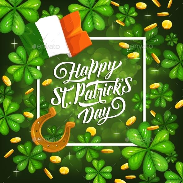 St Patricks Day Irish Flag Shamrock Background