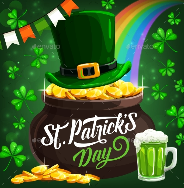 Patricks Day Irish Leprechaun Hat and Gold Coins