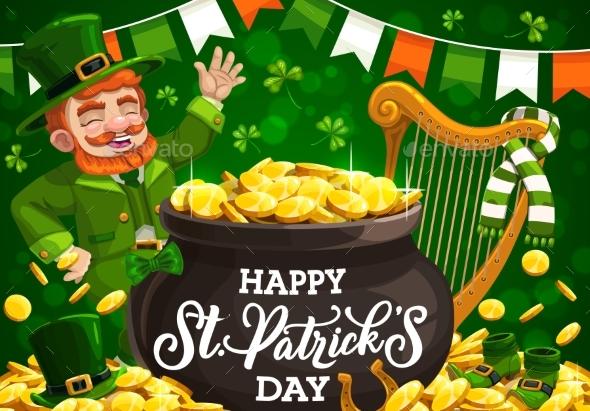 St Patricks Day Leprechaun with Gold Pot