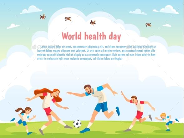 World Health Day Family Sports Illustration