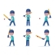 Set Boy Cricket Player Playing with a Ball - GraphicRiver Item for Sale