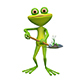 3D Illustration of a Frog with a Flower on a Shovel - GraphicRiver Item for Sale