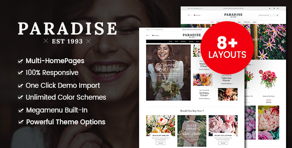 Paradise - Flower Shop WordPress WooCommerce Theme (8+ Homepages Ready)