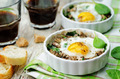 Spinach mushrooms baked egg on a wood background - PhotoDune Item for Sale