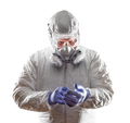 Man Wearing Hazmat Suit, Goggles and Gas Mask Isolated On White. - PhotoDune Item for Sale