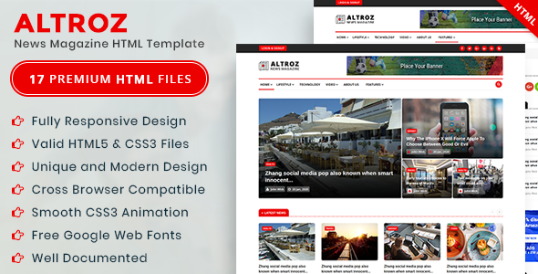 Altroz - News Magazine HTML Template