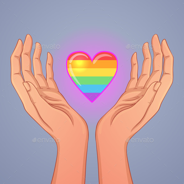 Two Open Hands Raised Up Holding Rainbow Heart