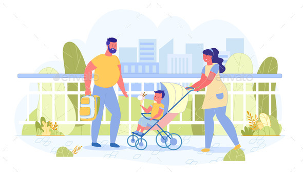 Vector Banner Couple on Walk with Baby Carriage.