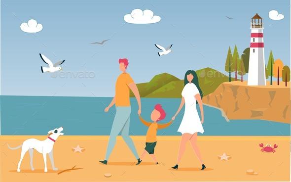 Happy Family Walking Outdoors Along Ocean Beach