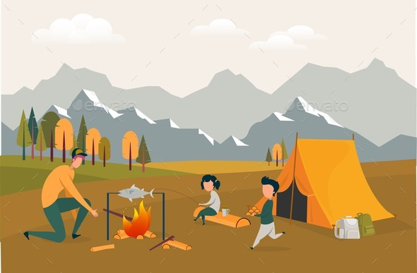 Happy Loving Family Spend Time in Summer Camp