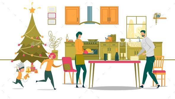 Festive Christmas Dinner in Family with Children