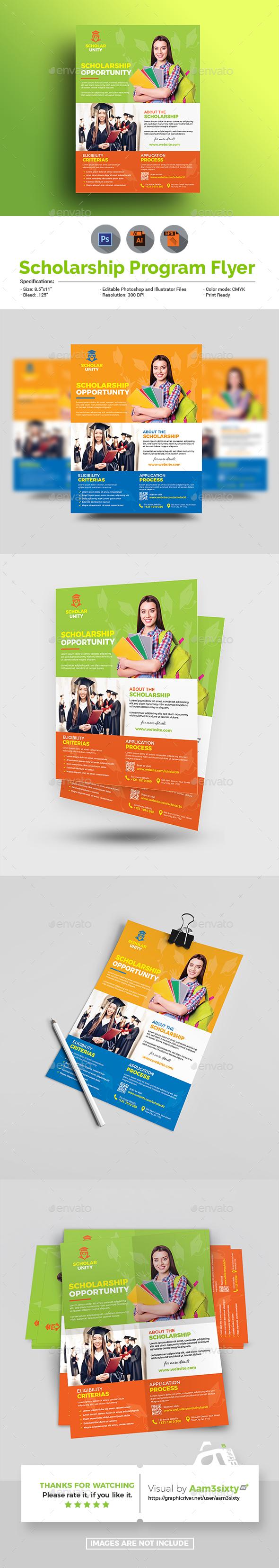 Scholarship Flyer Graphics Designs Templates
