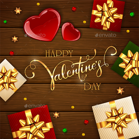 Valentines Hearts and Gifts on Wooden Background