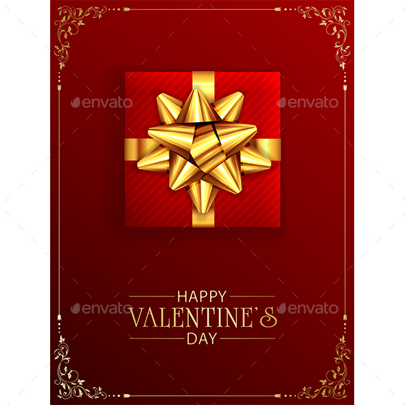 Valentines Gift Box with Golden Bow on Red Background with Ornate Elements