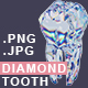 Diamond Tooth. Metaphor of Health and Strength of Teeth. Brilliant Tooth - GraphicRiver Item for Sale