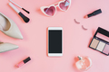 woman cosmetics and fashion items with smartphone and copy space, Top view - PhotoDune Item for Sale