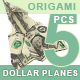 Set of 5 Different Angles Paper Airplanes Made Out of Money. Dollar Origami Plane. - GraphicRiver Item for Sale