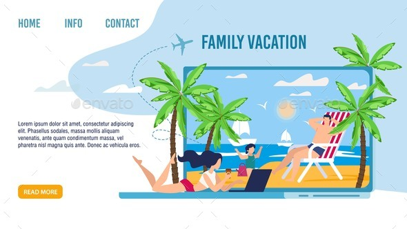 Happy Family on Tropical Vacation Landing Page