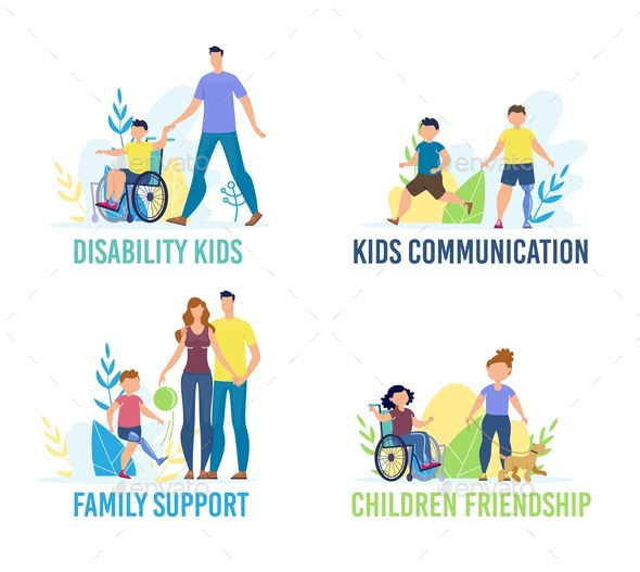 Disabled Children Flat Vector Characters Set