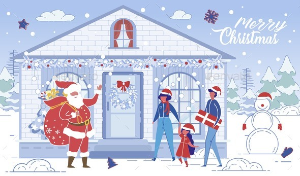 Santa Claus Come at Home Bringing Present To Child