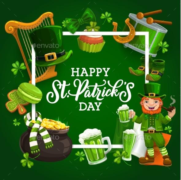 Frame of St. Patricks Day Symbols Leprechaun Gold