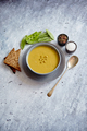 Green pea cream soup in grey bowl - PhotoDune Item for Sale