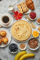 Various breakfast ingredients placed on stone table - PhotoDune Item for Sale