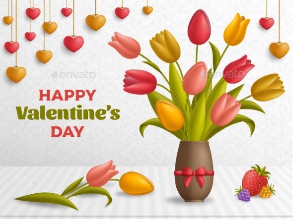 Happy Valentine Day Background with Bouquet