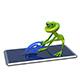 3D Illustration Frog Pulls Email Sign From Smartphone - GraphicRiver Item for Sale