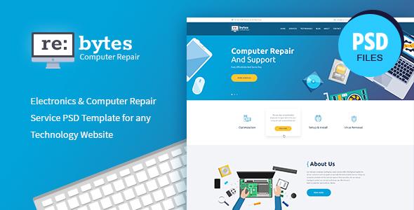 Rebytes   Electronics & Computer Repair Service PSD Template