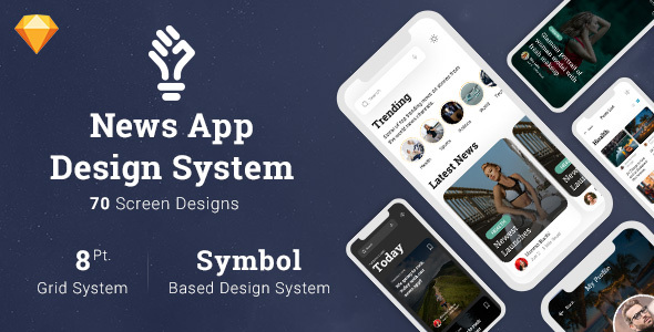 News App Design System in Sketch