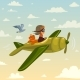 Cartoon Boy in Airplan - GraphicRiver Item for Sale