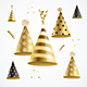 Realistic Detailed Gold Party Hats - GraphicRiver Item for Sale