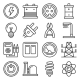 Electricity Icon Set on White Background - GraphicRiver Item for Sale