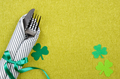 St. Patricks day flat lay set with silverware fork, knife and napkin - PhotoDune Item for Sale
